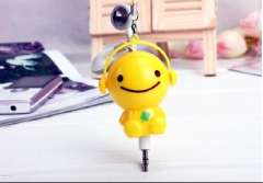 New second-generation | Automatic retractable headphones 3.5 mm Q version cartoon | Yellow Sunny Doll