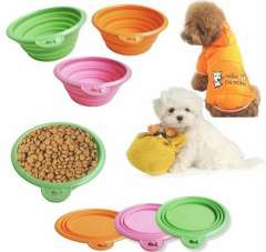 Colorful 10pc\lot Portable Dog Feeding Bowl Silicone Pet Collapsible Travel Bowl Environmental Friendly Pet Supplies