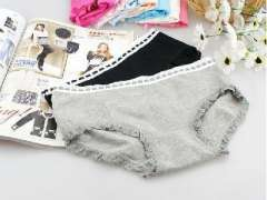 Japanese cute elegant cat bow lace cotton ladies underwear / briefs - Grey
