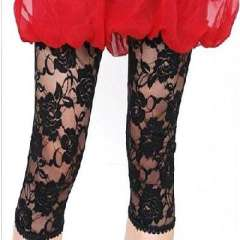 Korean fashion lace leggings seven roses - Black ( 391 )