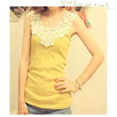 2012 latest lace crochet collar / openwork stitching / thread cotton shirt / Vest - Yellow