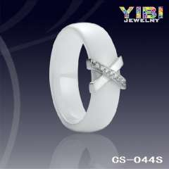 High Quality Beautiful Ceramic Ring With Silver Inlay CS-044S