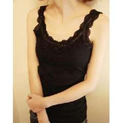 The new wild lace sweet lace thread base vest - black ( 321 )