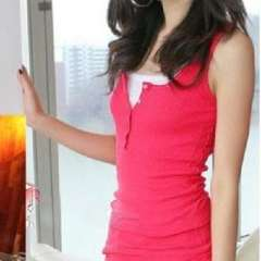 Button the word vest / cotton thread Slim sleeveless vest / bottoming shirt - Rose