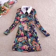 Wholesale 2013 winter new Korean OL commuter temperament spell color collar dress color rendering