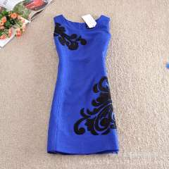 Wholesale high-end European and American decorative embroidery winter sleeveless dress