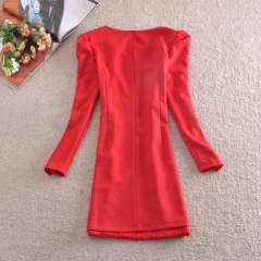 European and American women's 2014 spring long-sleeved wedding dress the bride toast back door red dress