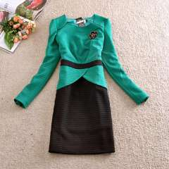 2014 new spring Korean lady was thin candy-colored dress mixed colors green beaded skirt