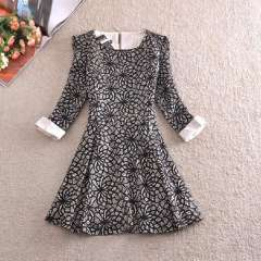 2014 spring new OL commuter high-end lace dress Slim thin rolled edge