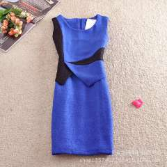 2013 winter new European and American foreign orders custom backing Slim flouncing sleeveless woolen vest dress