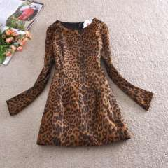 Wholesale 2013 autumn and winter in Europe and America of the original single sexy leopard keel significant lanky waist dress