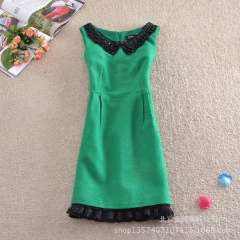 Wholesale new winter cut exports outside the single petal lace doll collar woolen Slim Dress