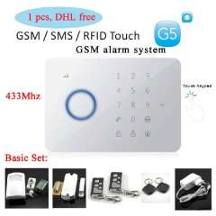 1set 433MHZ Quad-band Chuango G5 GSM \ SMS RFID Touch Alarm System with LED INDICATION 50 Zones Touch Keypad GSM SMS