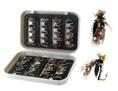 40-Pieces Larvae Design Single Hook Fishing Lure with Box (Black + White)