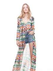 2013 explosion models in Europe and America retro TRF | tie-dyed long-sleeved cardigan dress chiffon dress