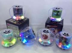 The new transparent crystal colorful apple | Card U disk portable speaker | Mobile Computer MP3 player Radio