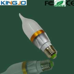 E27 3w dimmable LED candle bulb 3 years warranty