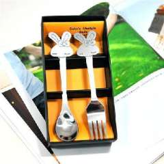 Cartoon handle stainless steel fork spoon two-piece