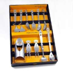 Happy family portrait smiley 11 sets of stainless steel cutlery