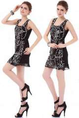 Pierced sexy sequined Europe | gauze | lines | abstract vest dress dress skirt | black and white color
