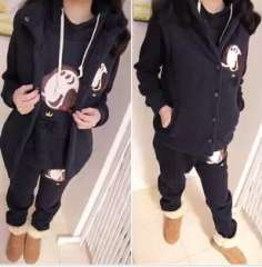 2013 New | Maternity fall and winter plus thick velvet cartoon Oliver Korean casual sports three-piece