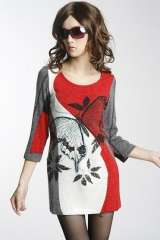 Spring and Autumn new women dress with butterfly sleeves Slim L code