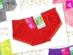 Sexy Seamless bamboo fiber flouncing bow cotton underwear / ladies briefs - Big Red
