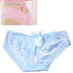 Princess lace rhinestone bow deep V exposed thigh sexy | underwear | Briefs | Blue