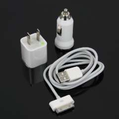 Data transfer iPhone 3G / 3GS / 4G / 4S ipad 1/2/3 triple suit | Mini Car Charger + iphone data cable + US regulatory small green dot | Adapter | Charger | Power Adapter