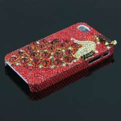 IPHONE 4G 4S high-end mobile phone shell | peacock | flash diamond | Full red