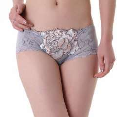 Cheap hot - high-grade bamboo fiber peony embroidered lace sexy women's underwear - | silver