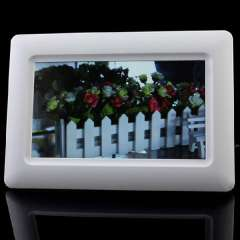New 7' TFT LCD Digital Photo Frame Alarm Clock Support U SD MMC MS USB White GIft Lucky