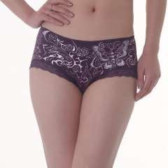 South Korea imported cotton | superfine fiber | ladies lace panties butterfly embroidery printing | - purple
