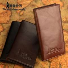 Wolf Dance World | cowhide Spot | Men's leather wallet long section | casual fashion men's wallet wholesale wallet