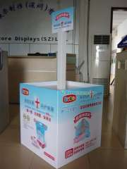 Supply sanitary napkins paper, wet tissue paper stack, diapers, feminine care products display racks