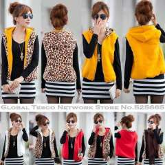 New 2014 Spring Fashion Women Vest Leopard A Waistcoat hooded sleeveless Black White Red Yellow Fleece New 2014 Autumn Winter