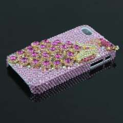 IPHONE 4G 4S high-end mobile phone shell | peacock | flash drilling | Full Pink