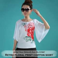 Spring Chinese style Vintage fashion flared sleeve Slim Rose print chiffon Shirt blouse women summer 2014 Top White Black S-XXXL