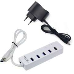 New White Super Speed USB 3.0 4-Port HUB Adapter With Power Adapter For Notebook EU Just for you