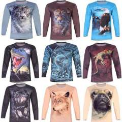 6Xl Plus Size Mens 3d T shirt Novelty Tiger Wolf Animal Print 2014 Spring Long Sleeve Loose Autumn and Winter 4XL 5XL Clothing