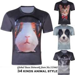 2014 New Animal 3d Man t-shirts cat Dog Tiger Wolf Monkey Novelty Loose Short Sleeve Brand Tops Spring And Summer 4XL 5XL 6XL