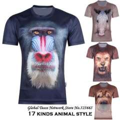 New 2014 6xl Plus Size mens Animal Funny 3d T Shirts Casual Loose Short Sleeve Tee T Shirt Brand Tops Spring And Summer S-5XL