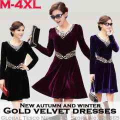 2014 Plus Size XXXXL Sexy Leopard Splicing Gold Velvet Long sleeve V Neck Knee-length Club Dress for Women New Spring and winter