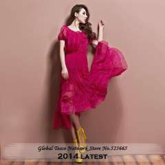 New 2014 Spring And Summer Womens Dresses Casual Bow Puff Short Sleeve Long Dress Free Shipping