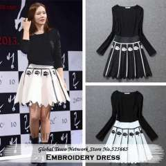 New 2014 Spring and Summer Cute jagged edges embroidery black and white long sleeves mini full dress high quality for Women