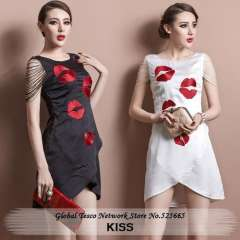 Women Sexy Club Dress Red Kiss Split Ends Slim High Waist Embroidery Sleeveless Mini White Black Spring Summer New 2014 Clothing