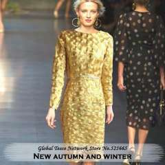 Luxury Casual Runway Long sleeve Sequin knee-length one-piece Dress new 2014 Spring dresses women Yellow Blue