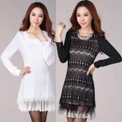 Spring Vintage Slim Thin Crochet Lace One piece Hollow Beaded Long sleeve Plus Size New 2014 Women Black White Mini Dress