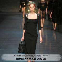 New collection 2014 Spring Casual Runway Half Sleeve Slim high waist Maxi pencil Dress for women brand Black Blue