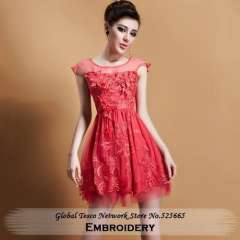 New Spring Celebrity Dresses 2014 Fashion Embroidery O Neck Sleeveless Sheath Above Knee Mini Green Watermelon Red